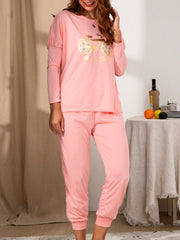Pink Casual Cotton-Blend Crew Neck Suits