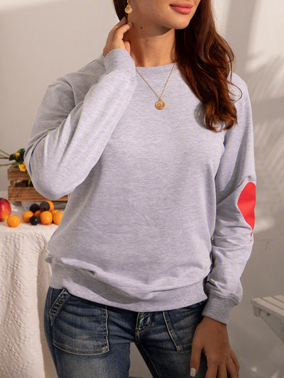 Crew Neck Cotton-Blend Casual Sweatshirt