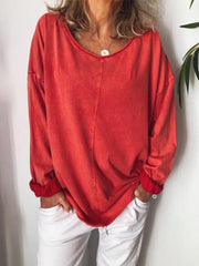 Solid Casual Round Neck Shirts & Tops