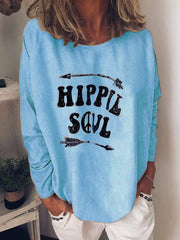 Printed Crew Neck Long Sleeve Shirts & Tops
