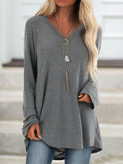 Gray V Neck Cotton-Blend Solid Casual Shirts & Tops
