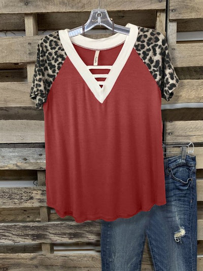 Wine Red Casual Short Sleeve Shirt & Top