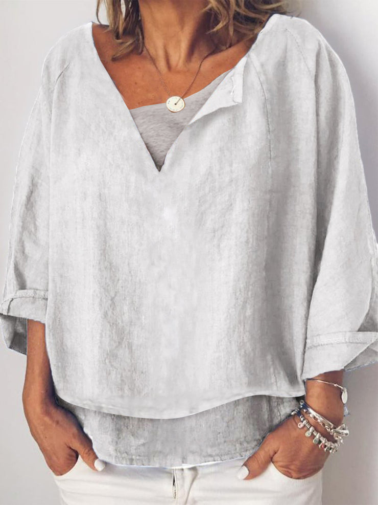 Casual V Neck Long Sleeve Shirts & Tops