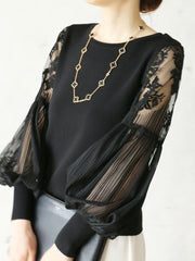 Balloon Sleeve Paneled Elegant Top