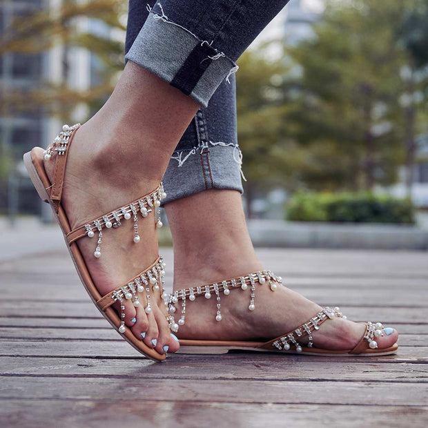 Women Plus Size Imitation Pearls Sandals Casual Slip-On Sandals