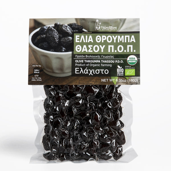 Organic Throumpa Thassou (PDO) Olives (6.35 oz)