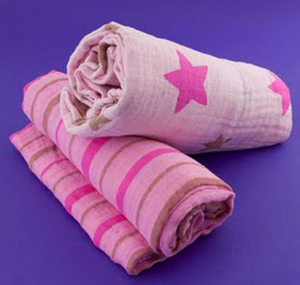 Star and Stripes Pink Muslin Swaddle Set (2 pack of blankets) Light weight guaze style wrap