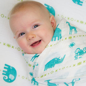 Double Layer Muslin Swaddling Blanket - Jungle Teal