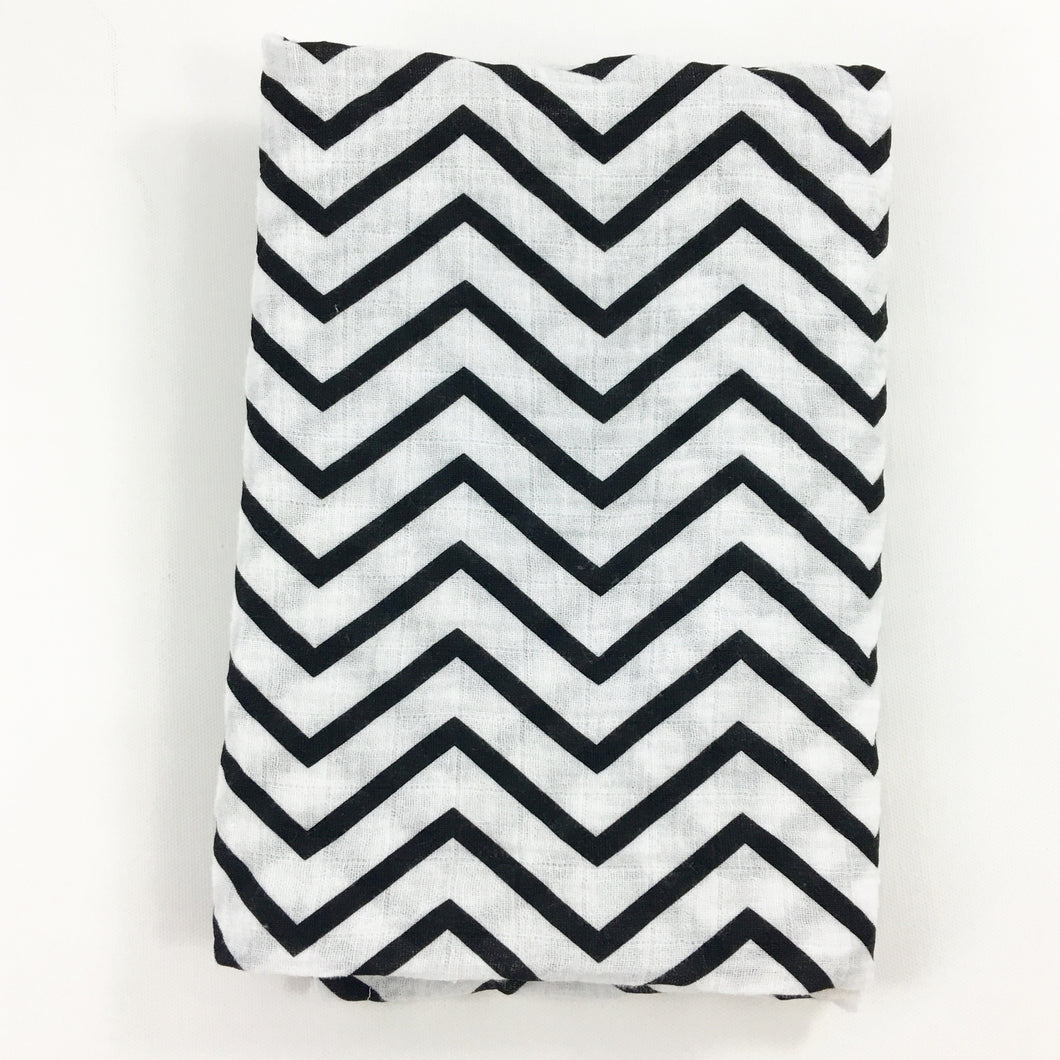 Black Chevron Muslin Swaddle Blanket