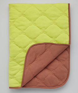 Lime & Brown Organic Quilted Blanket