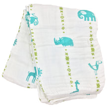 Load image into Gallery viewer, Double Layer Muslin Swaddling Blanket - Jungle Teal