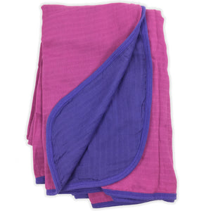 Double Layer Muslin Swaddling Blanket - Berry & Purple