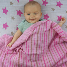 Load image into Gallery viewer, Star and Stripes Pink Muslin Swaddle Set (2 pack of blankets) Light weight guaze style wrap