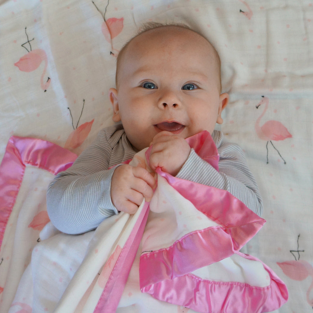 Flamingo, 4- Layer Toddler Blanket - Satin or Jersey Trim