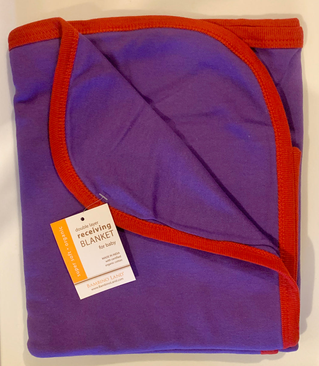 Purple with Red Trim, Double Layer Cotton Receiving Blanket