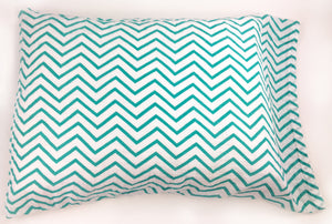Teal Chevron Muslin Pillowcase