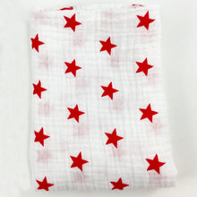Load image into Gallery viewer, Red Stars Muslin Swaddle Blanket