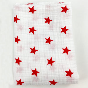 Red Stars Muslin Swaddle Blanket