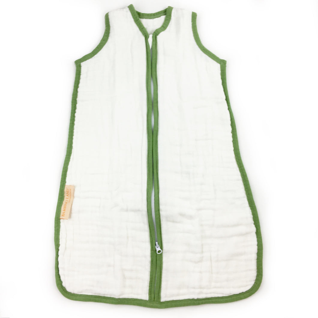 White with Green Trim - Sleeping Bag (fits 3-9 months)