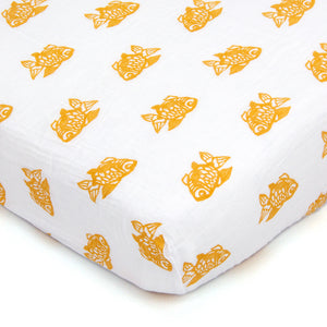 Orange Goldfish Muslin Crib Sheet