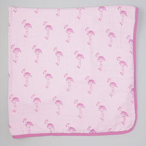 Double Layer Muslin Swaddling Blanket - Pink Flamingos