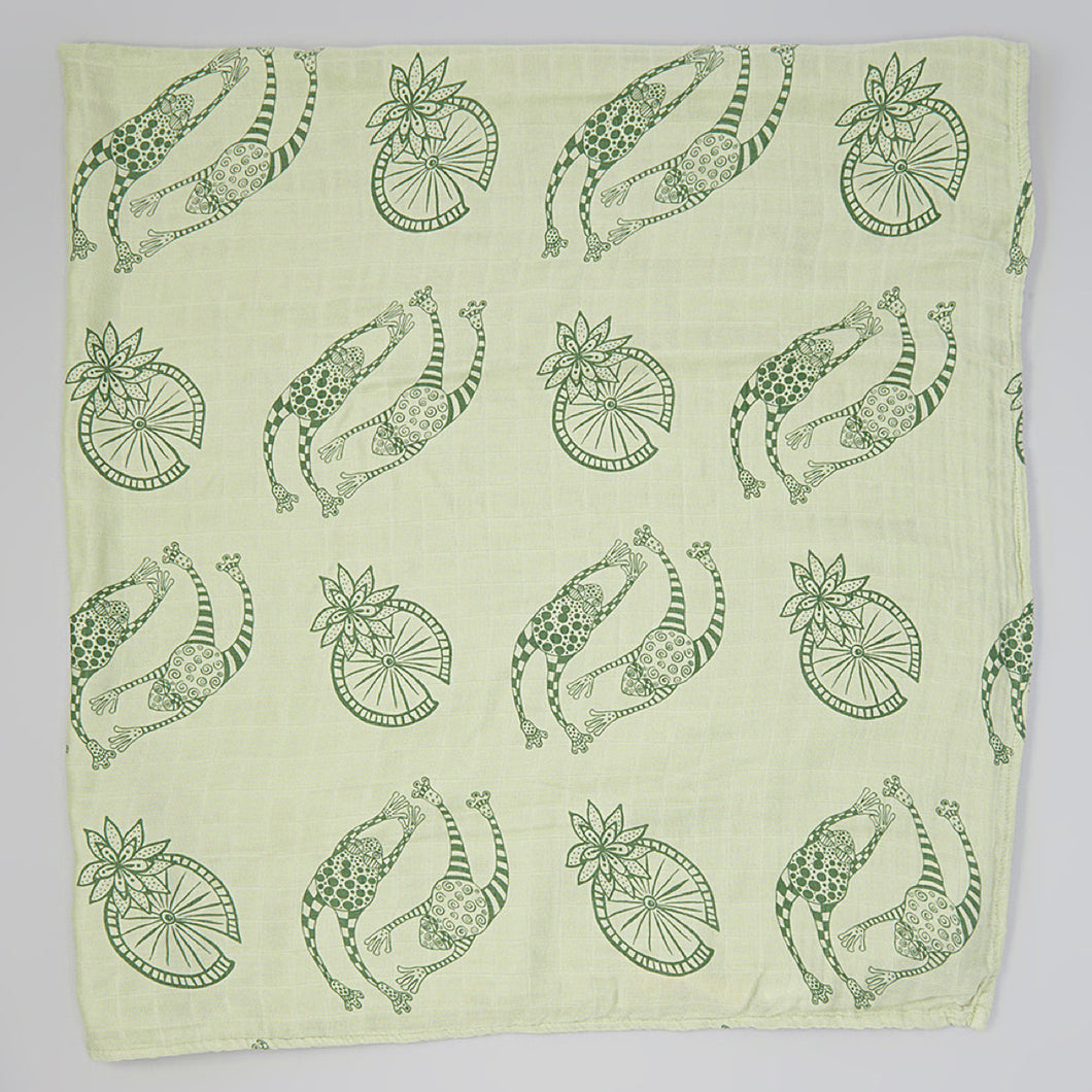 Green Frogs Muslin Swaddle Blanket (bamboo)