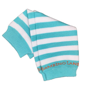 Teal & White Stripes Newborn Leg Warmers