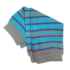 Organic Newborn Leg Warmers - Stripes Grey and Blue