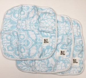 3 pack Muslin Wash Cloths, made from organic cotton - Blue Floral - 4 layers of soft muslin
