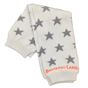 White with Gray Stars Baby Leg Warmers