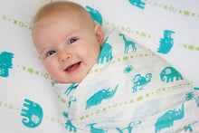 "Load image into Gallery viewer, Double Layer Muslin Blanket 47""x47"" (swaddling blanket or toddler blanket) -  teal jungle animals"
