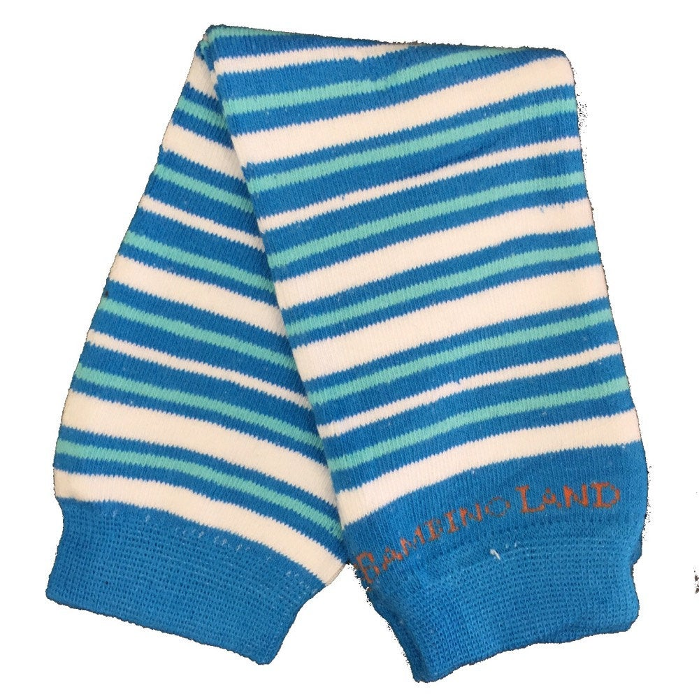 Small Stripes Blue & White Baby Leg Warmers