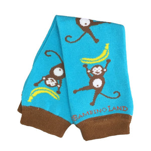 Monkeys Teal Baby Leg Warmers