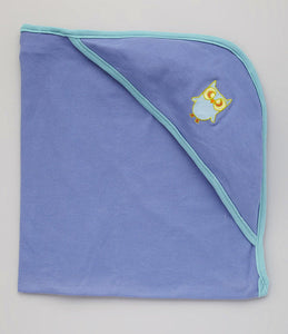 Hooded Bath Blanket - Deep Blue w/Aqua Trim with Owl embroidery