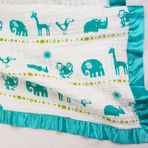 "Jungle Teal - Medium Satin Trimmed 2-layer Snuggle Blanket (23""X23"")"