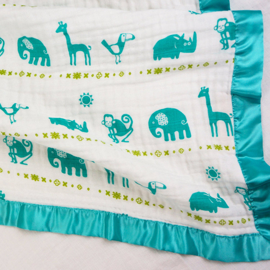 Jungle Teal - Medium Satin Trimmed 2-layer Snuggle Blanket (23