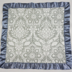 "Small Satin Trimmed 2-layer Snuggle Blanket, Lovey (15""X15"") - Gray Floral"