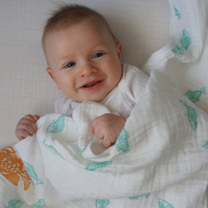 "Teal Goldfish Muslin Swaddle Blanket: made with 100% Organic Cotton Muslin. (extra large 47""x47"")"