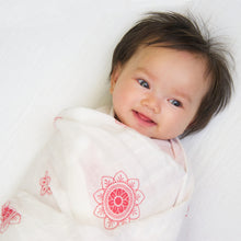 "Load image into Gallery viewer, Swaddle Blanket: made with 100% Organic Cotton Muslin. (extra large 47""x47"") RED Zen Flowers, india muslin wrap"
