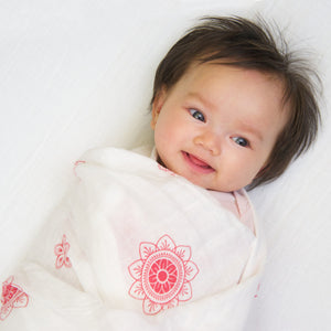 "Swaddle Blanket: made with 100% Organic Cotton Muslin. (extra large 47""x47"") RED Zen Flowers, india muslin wrap"
