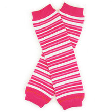 Load image into Gallery viewer, Small Pink & White  Stripes  Baby Leg Warmers