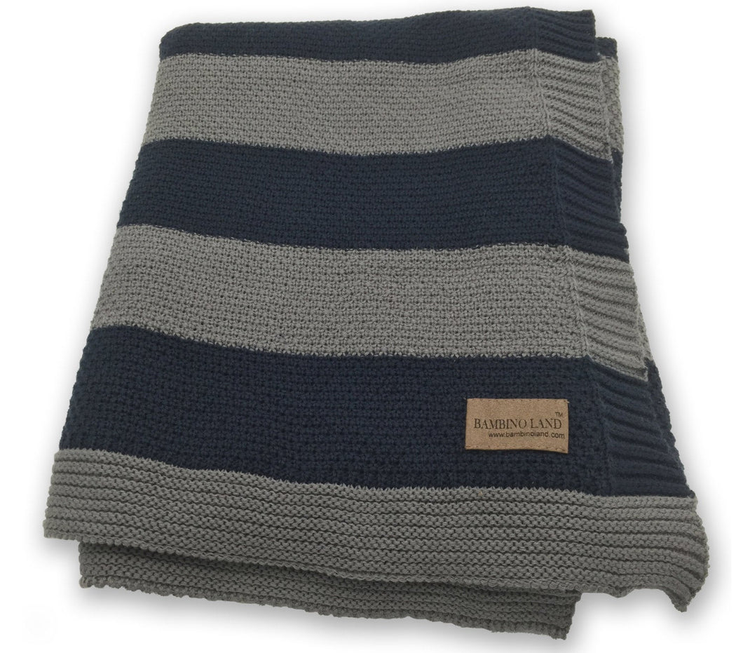 Knit Baby Blanket  - Gray and Black Stripes