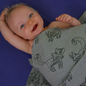 "Gray Fox 2-layer Big Bambino: made with 100% Organic Cotton Muslin. (extra large 60""x72"") for older kids & adults"