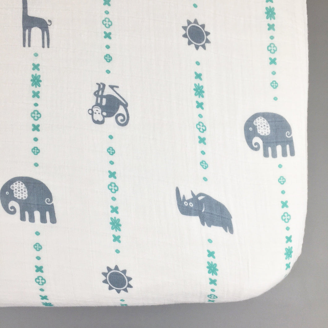 Blue Jungle Animals Muslin Fitted Crib Sheet