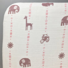 Load image into Gallery viewer, Purple & Pink Jungle Animals Fitted Muslin Crib Sheet