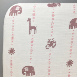 Purple & Pink Jungle Animals Fitted Muslin Crib Sheet
