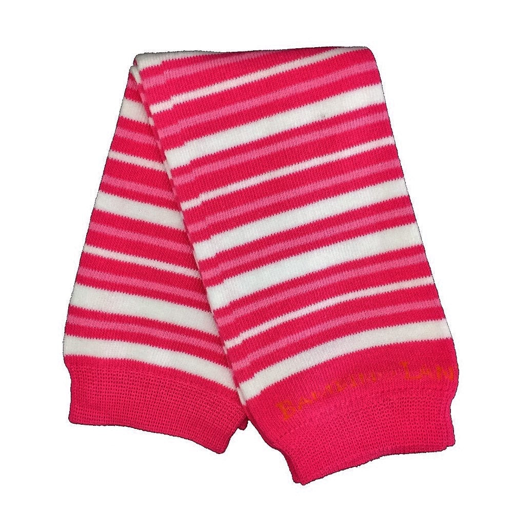 Small Pink & White  Stripes  Baby Leg Warmers
