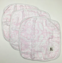Load image into Gallery viewer, 3 pack Muslin Wash Cloths, made from organic cotton - Pink Floral - 4 layers of soft muslin