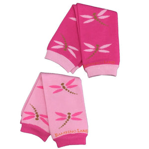 2 Pack Dragonflies Light and Dark Pink Baby Leg Warmers