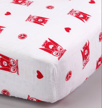 Load image into Gallery viewer, Peace & Love Owl Muslin Fitted Crib Sheet